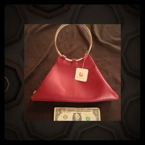 Handbags - Bundled!! Red Leather Purse with Bangle Handles 🐝