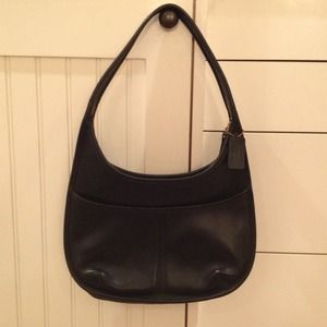 Authentic COACH black leather hobo