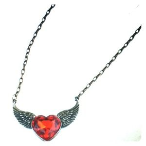 Jewelry - Vintage bronze red rhinestone heart wing necklace