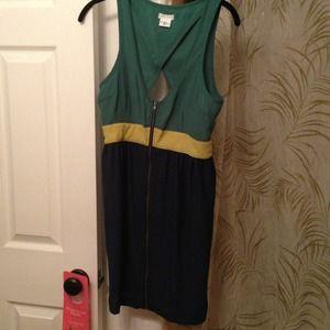 Blue, green & yellow color block dress