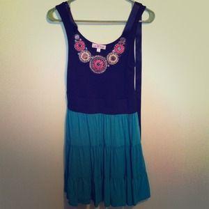 Dresses & Skirts - Green & Black Beaded Dress