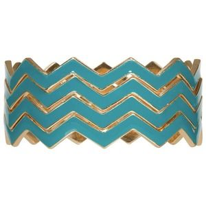 Jewelry - REDUCED Set of 4 teal chevron bangle bracelets