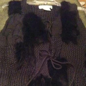 Jackets & Blazers - REDUCED Rabbit fur black ladies crochet vest