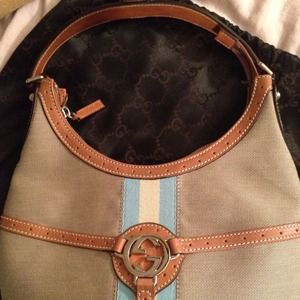 Gucci Handbags - Classic Gucci beige/blue stripe spring collection