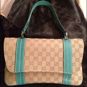 Gucci Handbags - Gucci logo aquamarine/beige limited edition