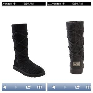 UGG Boots - Black Classic Argyle Knit UGG boots