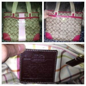 Coach Handbags - REAL pink & tan Coach Purse OBO