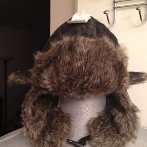 Accessories - Fur lined Blk/Gray Plaid Winter Hat(1 Sz fits all)