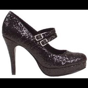1031 Shoes - Black sparkly glitter Mary Jane heels size 5.5