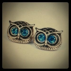 Jewelry - Vintage goldtone OWL Rhinestone Earrings NEW
