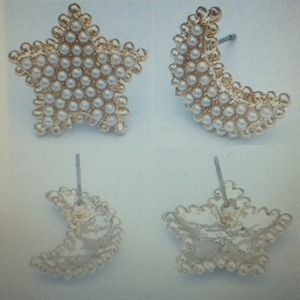 Jewelry - Star & Moon Faux Pearl lovely Earrings NEW
