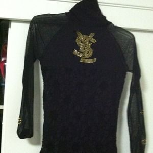 Yves Saint Laurent Tops - Vintage black sheer YSL skinny neck top.