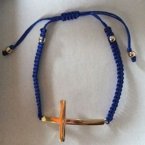 Jewelry - NWOT! Woven Gold & Blue Bracelet