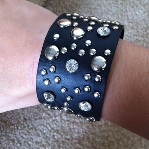 Jewelry - Faux leather cuff with stud and rhinestone details