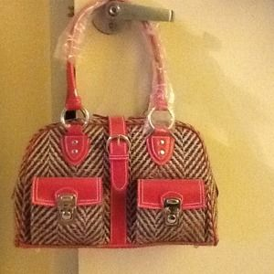 Handbags - Pink Tweed Handbag