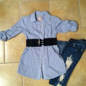 Tops - Blue stripe top w belt and vs blue @bankhead920