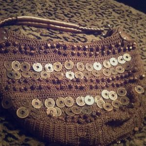 Handbags - Unique crocheted handbag with Asian coins.