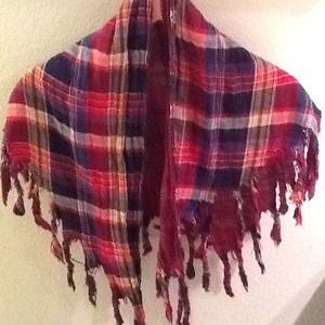 Accessories - REDUCED Cool red plaid scarf - reversible