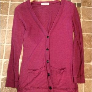 Tops - Pink & black striped thin lightweight cardigan
