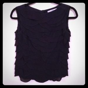 Robert Rodriguez Black Scalloped Top