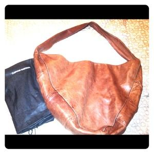 CoSTUME NATIONAL brown leather Ruched Hobo