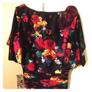 Catherine MaLandrino Silk Floral Blouse