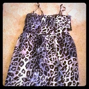 Short blue,black, and silver cheetah print dress