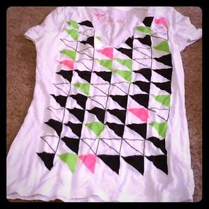 White tee with black and neon pink and green