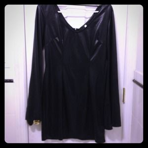 Sexy bell sleeve black metallic dress.
