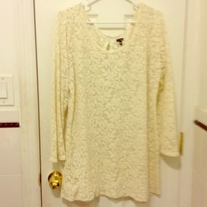 Cream floral lace sheer dress. Size Xl.