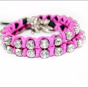 NWT Rhinestones & Leather Wrap Bracelet