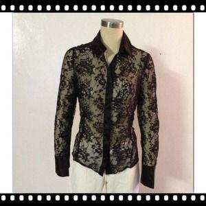 ⭐️NWT Zara Black All Lace Button Down Shirt