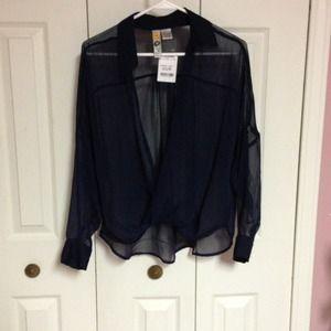 Navy blue sheer blouse