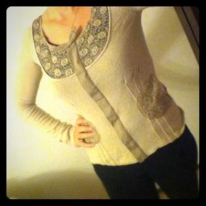 Wool, cashmere, & angora sweater with lace details