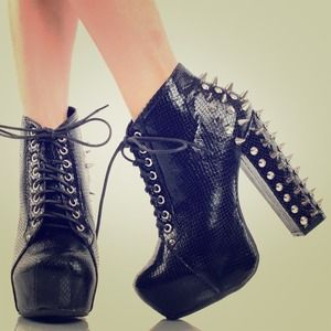 Black Spiked Lace Up Ankle Booties