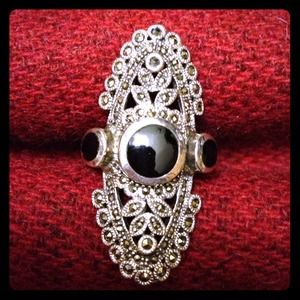 Jewelry - GENUINE BLACK ONYX MARCASITE STERLING SILVER RING