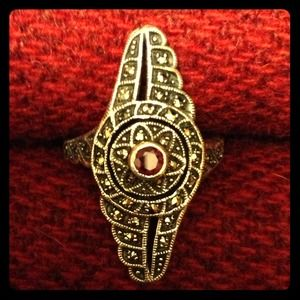 Jewelry - GENUINE GARNET MARCASITE STERLING SILVER RING