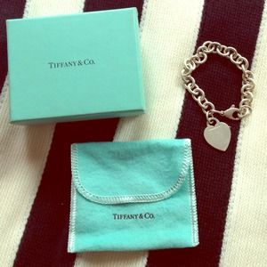 Tiffany & Co. Silver Heart Tag Charm Bracelet