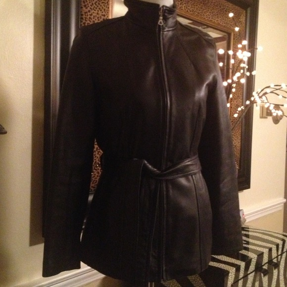Nine West Jackets & Blazers - Nine West - Black Belted Zip Front leather jacket