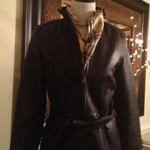 Nine West Jackets & Coats - Nine West - Black Belted Zip Front leather jacket