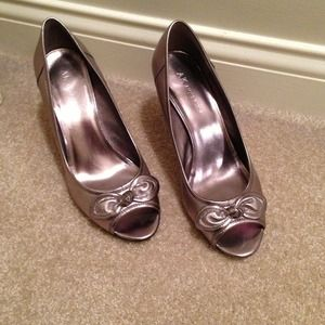Silver open toe shoes