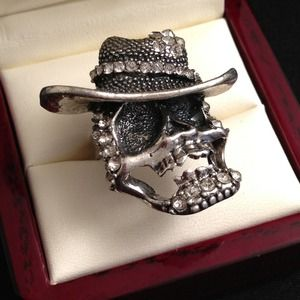 Jewelry - Adjustable Skull Ring w/ Rhinestones