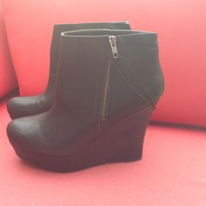 Boots - Black Leather Platform Wedge Boots Booties 9.5 new