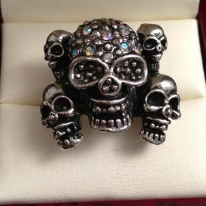 Jewelry - Adjustable Multi Skulls Ring w/ Rhinestones