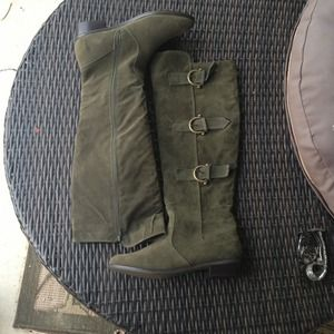 Boots - Tall Olive Green Flat Riding Boots 9.5 New!