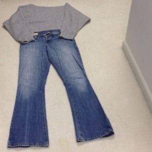 Abercrombie & Fitch faded boot cut jeans.