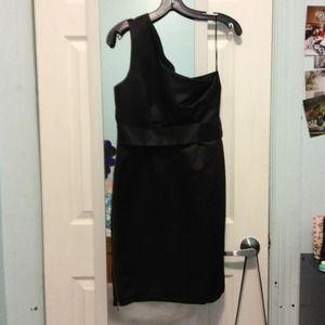 Asos One Shoulder Black Satin Dress
