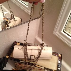 Handbags - Beige Croc Embossed Leather Jewelry Clutch