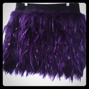 Purple feather Robert Rodriguez mini skirt