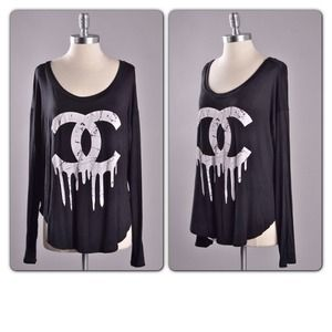 Tops - Last one - black Chanel inspired drip logo tee